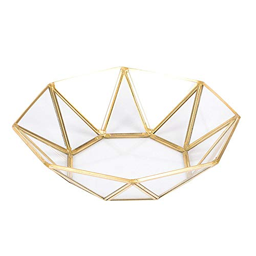 Cikuso Nordischen Stil Messing + Glas Geometrie Ablage Korb Einfachen Stil Hause Organizer Schmuck Halskette Dessert Teller (Acht Eckige Platte) - Dessert-teller