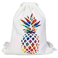 Oflamn Drawstring Gym Bag PE Bag Gym Sack for Boys, Girls, Women, Men (Pineapple)