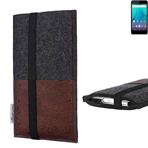flat.design Handy Hülle Sintra für Allview P7 Lite Handytasche Filz Tasche Schutz Kartenfach Case braun Kork
