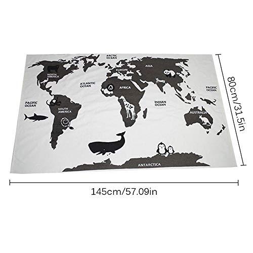 AOLVO World Map Teppich, Weltkarte, Fußmatte, Spielteppich, lustige Neugeborene, Babydecke, Tapisserie, Kinder, Boden, Abenteuer, Rennspiele, Krabbeln Weltkarte -