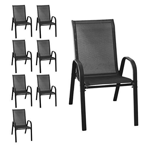 Wohaga® 8er Set Stapelstuhl \'New York\', Textilenbespannung Schwarz, Stahlgestell pulverbeschichtet, stapelbar, Gartenstuhl