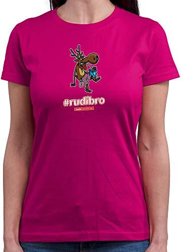HARIZ  Damen T-Shirt Rundhals Pixbros Rudibro Xmas Weihnachten Witzig Geschenke Winter Plus Geschenkkarte Pink XXL