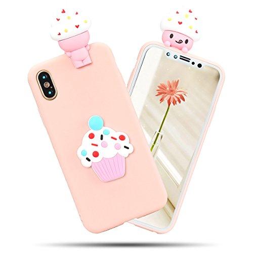Cover iPhone X Spiritsun Case iPhone X Custodia Moda Ultraslim Soft TPU Case 3D Diy Handy Kawaii Cover High Quality Case Elegante Souple Flessibile Liscio Copertura Perfetta Protezione Shell Morbido S Gelato