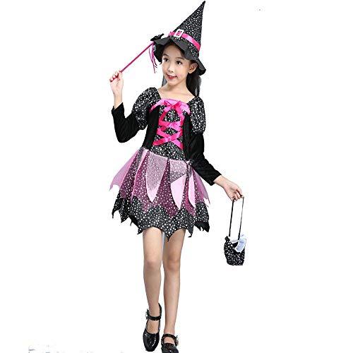 Kostüm Teufel Party Stadt -  Romantic Halloween Kostüme Kinder Baby Kleid Mädchen Festlich Halloween Cosplay Tutu Kleid Party Langarm Hexenanzug Tutu Funktionsbekleidung + Hexehut + Zauberstab + Einkaufstasche 4er Set