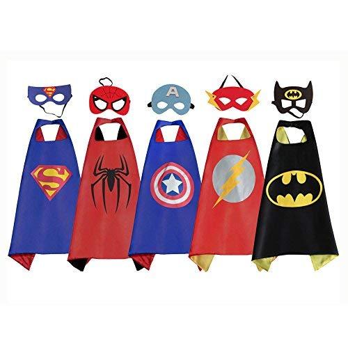RioRand Comics Cartoon Heroes verkleiden sich Kostüme mit Masken (5pcs mit Masken für Jungen)