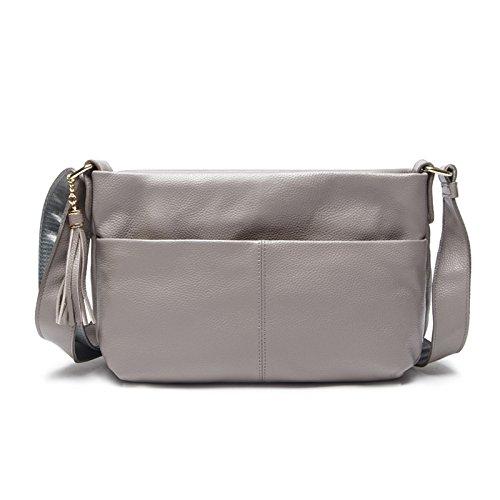Chlln Neue Mode - Handtasche Damen Ranzen Alle Mit Einheitlichen Schulter Schicht Fransen Leder Leder - Tasche gray