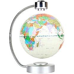 ZJchao globo terráqueo flotante de levitación magnética el mapa del mundo para oficina y casa regalo educativo para los niños (blanco)