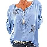 Vovtrade T Shirt Damen Bluse T Shirt Sommer Bluse V Ausschnitt Stehkragen 3/4 Ärmel Top Shirt Oberteile Pailletten Glitzer Button 3/4 Sleeve Five-Pointed Star Hot Drill Übergröße