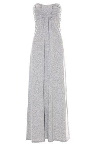 Pure Fashion Damen Maxikleid Ärmellos Mehrfarbig Grey Elasticated