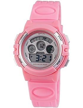 Digital-Armbanduhr Silber Rosa + Box Quarz Silikon Damenuhr Kinderuhr Herrenuhr Unisex Sport Alarm Licht Stoppuhr...