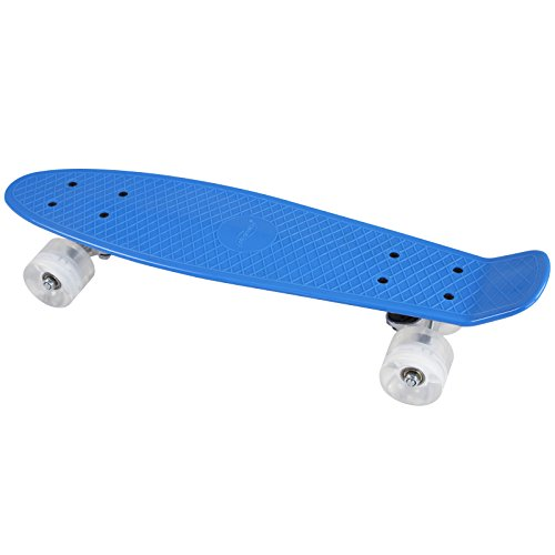 Physionics ABEC 5 Skateboard Cruiser Board mit LED Leuchtrollen Rollbrett Retro-Board in verschiedenen Farben -