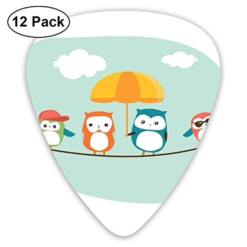 Celluloid Guitar Picks - 12 Pack,Abstract Art Colorful Designs,Funny Bird Family In Summer With An Orange Umbrella Sunglasses And A Hat,For Bass Electric & Acoustic Guitars.