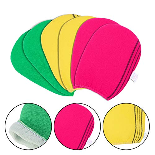 xinyus Koreanisches Peelingtuch Waschlappen Badetuch Italien Handtuch Handschuh 3 Stück Rot Grün Gelb in 1 Paket im feinen Stil Pink, Green, Yellow Bath Towel(6 Packs) -