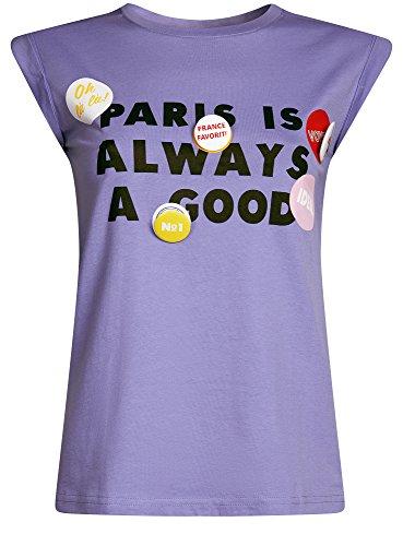 oodji Ultra Damen T-Shirt mit Schriftzug und Aufschlägen auf Den Ärmeln Violett (8029P)