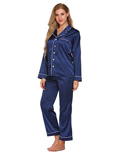 Damen schlafanzug set PYJAMA SET SEIDE schlafanzughose blau s (Schlaf-hose Seide Nachtwäsche)