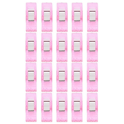 PLOT 20PCS Transparent Kunststoff Clips, Bright Colours Nähen Sewing, Quilting, Craft, Crochet, Clothes Pegs (Rosa)