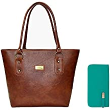 Flora Women's Handbag And Clutch Combo (Dark Brown / Aqua Green Color)