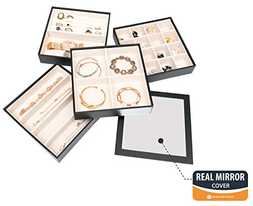JackCubeDesign Set aus 4 stapelbaren Leder Schmuck Tray mit Spiegelabdeckung Ohrring Halskette Armband Ring Veranstalter Display Aufbewahrungsbox (Schwarz, 18 x 18 x 17 cm) -: MK409A (Display Tray Set)