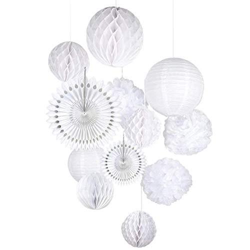 QIXINHANG LIHAO 12x Lampions Pom Poms Wabenbälle Fächer Dekoration Set Weiß für Hochzeit Feier Geburtstag Party Einschulungsparty Mottoparty Baby-Shower-Party (MEHRWEG)