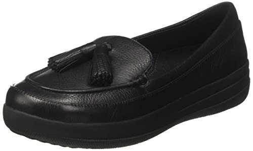 FitFlop Damen Fsporty TM Tassel Mokassin, Nero (Black Leather), 39 EU (Loafer Signature Schuhe)