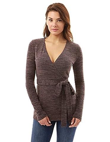 PattyBoutik Women's Long Sleeve Knit Wrap Tunic (Heather Brown 8)