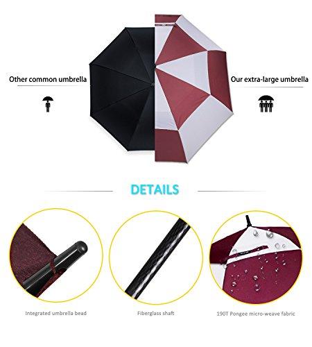 ZOMAKE Ouverture automatique Parapluie de golf 172,7 cm très Extra Large double auvent ventilé coupe-vent imperméable bâton parapluies (Rouge avec Blanc)