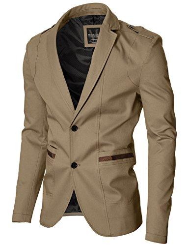 MODERNO - Slim Fit Sport Herren Sakko Blazer Jacke (MOD14518B) Camel EU XL