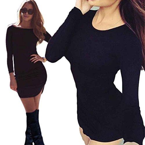 Bekleidung Longra Damen figurbetontes Langarm Kleid Damen Party Abend Minikleid Black