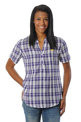 UG Apparel NCAA Frauen Short Sleeve Plaid Top, Damen, violett - Burnt Orange Damen Tank Top