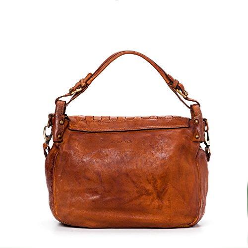 Ira del Valle, Borsa Donna, In Vera Pelle, Vintage, Modello West Coast Bag, Made In Italy Cognac