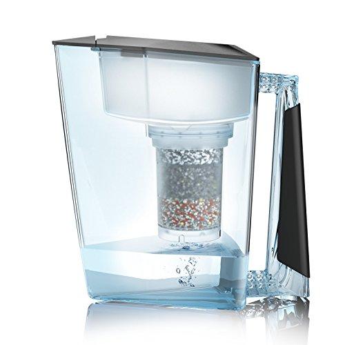 Wasserfilter MAUNAWAI® Premium Bio Made in Germany inkl. 1 Trinkwasserkanne +1 Filterkatusche und Filterpad (für 3 Monate) - Schwarz, Trinkwasserfilter + Filterkanne