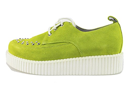 CULT sneakers donna verde / fucsia camoscio borchie (40 EU, Verde)