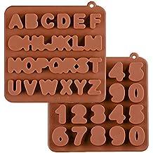 KBstore 2 Pack Moldes de Bombones de Silicona - Forma de Letras Numeros Molde de Silicone