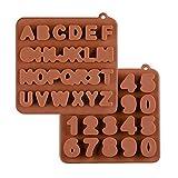 KBstore 2 Pezzi Stampo in Silicone per Cioccolato - Forma di Alfabeto Numero Stampi in Silicone per Cioccolatini/Caramelle al Caff¨¨/Cubetti di Ghiaccio/Gelatina