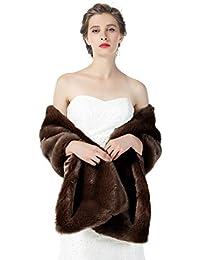 c9bd843ae BEAUTELICATE Estola Chal Pelo Mujer Boleros Mantón para Fiesta Bodas Novia  Invierno Vestido de Noche S76