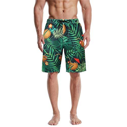 Herren Shorts Sommer Freizeit Hose Urlaub Hawaii Badeshorts Strandmode Männer Tropisches Brasilien Blatt Drucken Short Bunt Bermuda Hosen Strand Fitness Surf Laufen Kordelzug Badeanzüge
