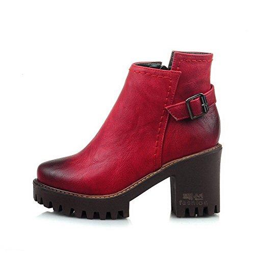 VogueZone009 Donna Cerniera Punta Tonda Tacco Alto Bassa Altezza Stivali con Metallo Rosso