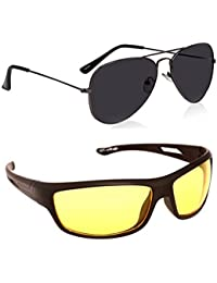 Magjons Fashion Combo Of Black Aviator And Night Driving Sunglasses