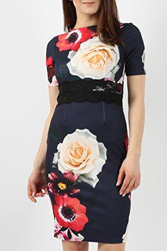 Dames à manches courtes Floral Lace Bodycon Midi Robe EUR Taille 36-44 Marine