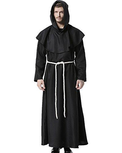 Kostüm Robe Für Erwachsene Mönch - Priester Robe Mönch Mittelalterliche Kapuze Kapuzenmönch Renaissance Robe Kostüm (Schwarz) (Medium)