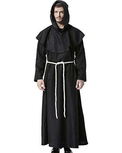 Priester Robe Mönch Mittelalterliche Kapuze Kapuzenmönch Renaissance Robe Kostüm (Schwarz) (XX-Large)