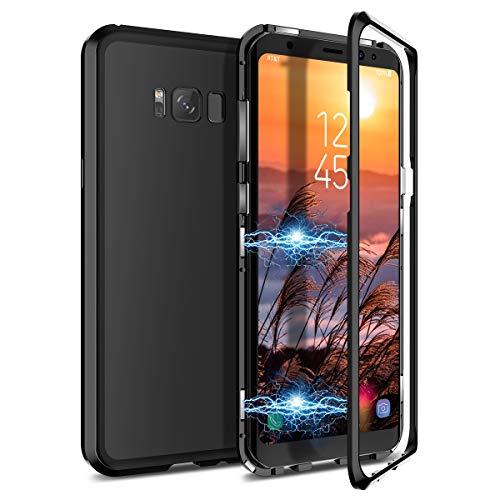 CE-Link Kompatibel mit Samsung Galaxy S8 Plus Hülle Glas mit Magnetisch Panzerglas Durchsichtig Handyhülle Transparent Ultra Slim Dünn 360 Grad Schutzhülle Bumper Schutz - Schwarz