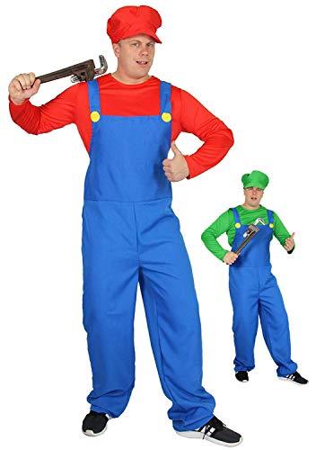 Luigi Kostüm L - Foxxeo rotes Super Klempner Kostüm für