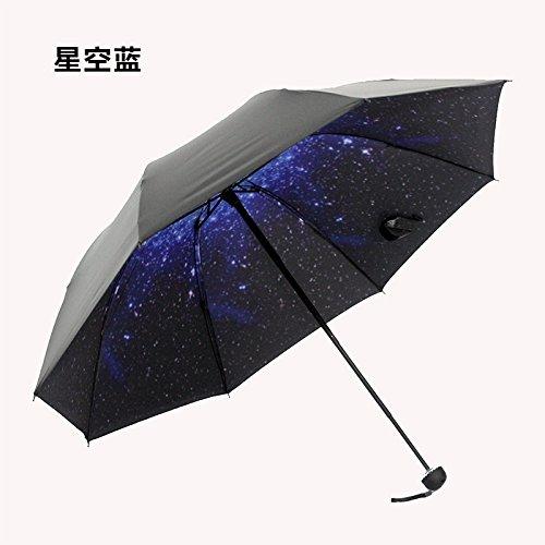 HAN-NMC Sonnenschirm Sonnenschirm Folding Umbrella und Regenschirm, Starry Blue