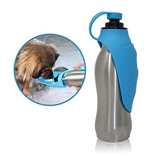 ZYliunian Hundekocher aus Edelstahl und Silikon - Auslaufsicherer, tragbarer Kettle Pet Walker Cup, ideal zum Gehen, Wandern, Laufen und für Hundeparks - Walker Cup