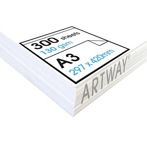 Artway Studio - Zeichenpapier für trockene Zeichen- und Maltechniken - säurefrei - lose Blätter - 130 g/m² - A3 (300 Blatt)