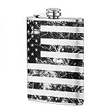 Flasque PecoStar - En acier inoxydable 304 de qualité alimentaire - Motif drapeau américain - Blanc et noir - 227 ml - Cadeau pour homme/maris/petit ami