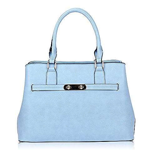 Women's Ladies Designer Tote Bucket Bag - 'Nancy' Handbag (Blue)