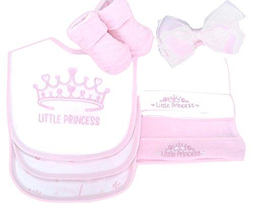 """Baby Geschenkset """"Little Princess"""" 7 Teile rosa Newborn Baby Mädchen Geburt Taufe Lätzchen Babysöckchen Babymützchen Weihnachten"""