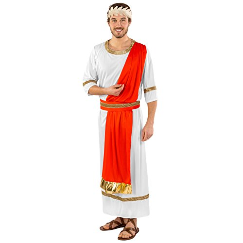 Herrenkostüm Gaius Julius Caesar | lange Toga | integrierte Schärpe mit goldenem Saum | Taillengürtel | Lorbeerkranz Haarband (XXL | Nr. (Berühmte Paare Lustigen Kostümen)
